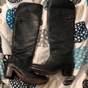 Tall Jane Frye foldover boots black size 6.5